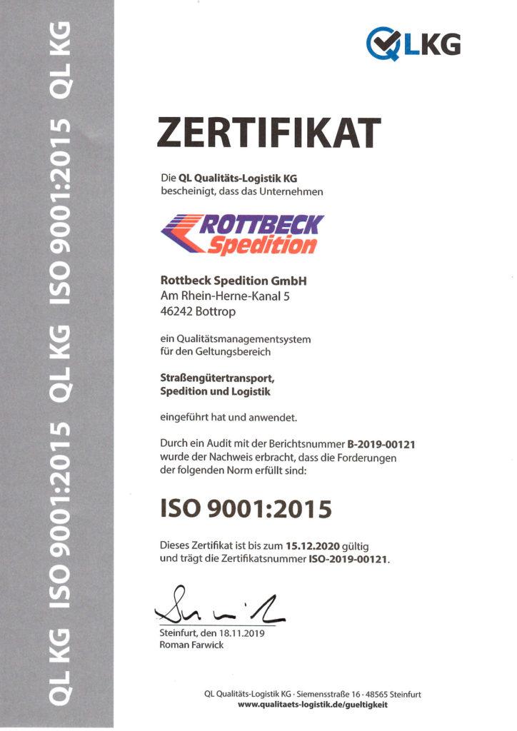 Rottbeck ISO Zertifikat